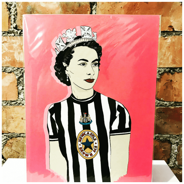 A Print of the Queen dressed in a Newcastle United strip