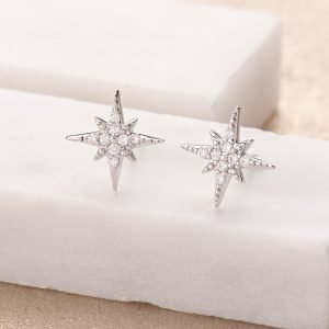 Beautiful starburst stud earrings from contemporary jewellery design company, Scream Pretty. Made from sterling silver with Nano Cubic Zirconia stones. A sparkling pair of stud earrings, perfect to wear for any occasion.