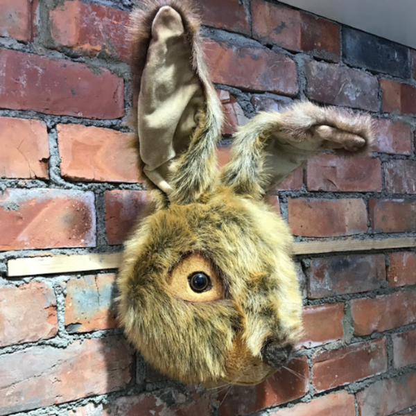 a hare wall mounted head for decorating a child's bedroom