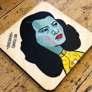 wooden coaster with picture of the chinese girl painting by Tretchikoff