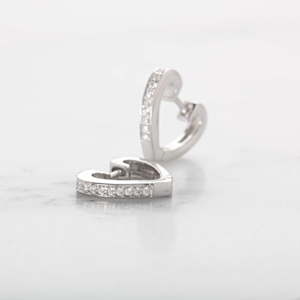 Silver heart shaped earrings with clear cubic zirconia stones