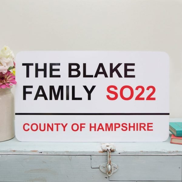 A sign with Family details on it