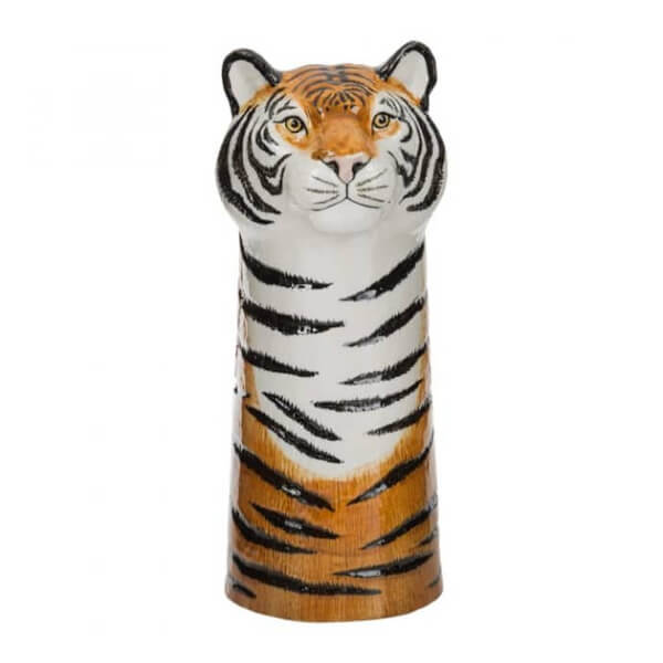 A flower vase that looks like a tiger