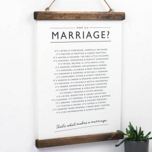 A print with a poem about marriage