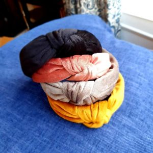 DuVelvet alice bands in a choice of colours, mustard, grey, pink, charcoal, with top knot