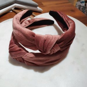Dusky pink velvet alice band with top knot
