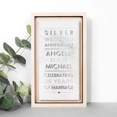 Read more about Personalised 25th Wedding Anniversary Silver and Marble Stone Print