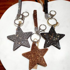 Double sided sparkly star key ring with sparkling lanyard