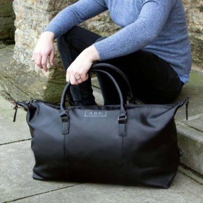 Read more about Personalised Black Vegan Leather Holdall
