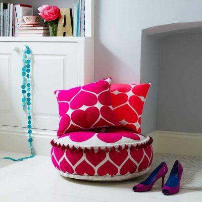 Read more about Embroidered Heart Cushion Flamingo Pink