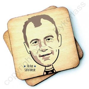 A 10cm square rustic wooden coaster with a characterchure of Newcastle United's favourite footballer Alan Shearer