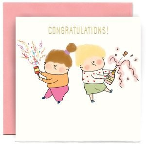 A white square card with a cartoon image of 2 women celebrating , with one setting off a party popper and the other opening a bottle of champagne.