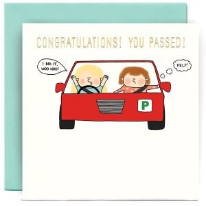 A white square card with a cartoon image of a couple in a car with the driver with a speech bubble saying I've Passed Woohoo! and the passenger with a thought bubble saying 'HELP!'