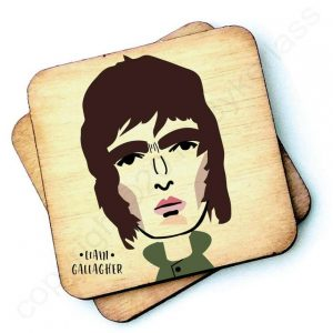 Wooden coaster with a characterchure of Liam Gallagher. Noel is also available