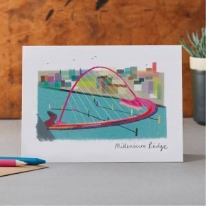 Blank greetings card with brightly coloured drawing of the Newcastle Gateshead Millenium bridge