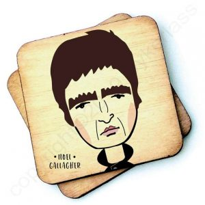 Wooden coaster with a characterchure of Noel Gallagher. Liam also available