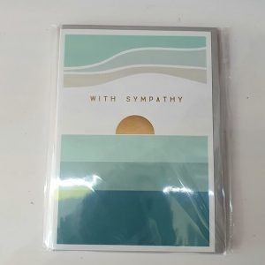 With Sympathy card with a gold foiled setting sun