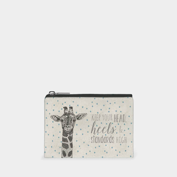 A sweet little canvas coin purse. Cream with blue dots and a giraffe design and the words Keep your head heels and standards high