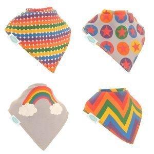 Rainbow patterned dribble bibs
