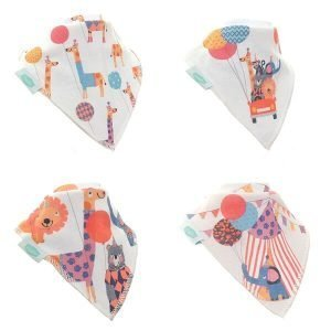 A set of 4 cotton dribble bibs in fun circus patterns