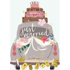 A rectangular card with a printed image of the back of a wedding card with the words Just Married written on it. There are flowers and streamers also on the car and 3 suitcases and a hatbox on the roof of the car. Tied to the bumper of the car are some cans printed with letters that make up the word Congrats.