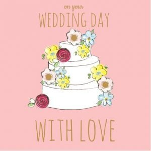 A square pink card with a three tiered white wedding cake, which has flowers dotted here and there. There are small diamante in the centre of some of the cards