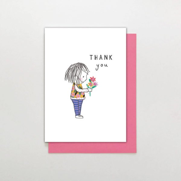 A sweet little thank you card with an illustration of a little girl holding a bunch of flowers. Hand finished with a sparkling little gem stone
