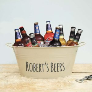 Personalised steel beer bucket in cream