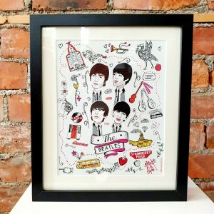 Caricature print of the Beatles