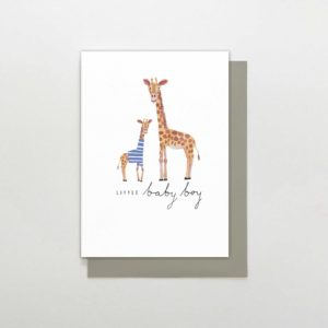 New baby boy card with a big giraffe and a little one