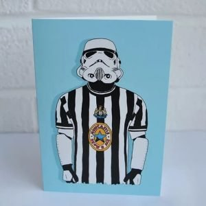 greetings card with an illustration of a stormtrooper wearing a newcastle united football top
