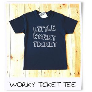 a black cotton t shirt printed with little worky ticket. a geordie gift for kids. age 2