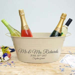 A personalised wedding wine cooler