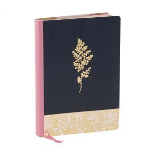 an a5 notebook with a pink spine, navy blue front with gold foil leaf pattern. 250 pages