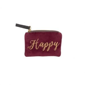 A dark red velvet coin purse with the word Happy printed in gold writing. The purse has a gold zip fastening and a grey velvet zip tag