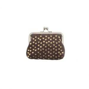 A chocolate brown velvet purse covered in liuttle cold hearts and finished with a silver coloured clip closure fastening.