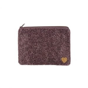 A burgundy wine coloured purse or pouch which is cvered in beads. There is a small gold beaded heart in the right hand corner of the pouch.