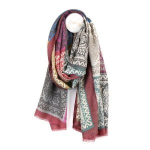 Large long scarf with baroque tile print in greys, dusky pinks and greens