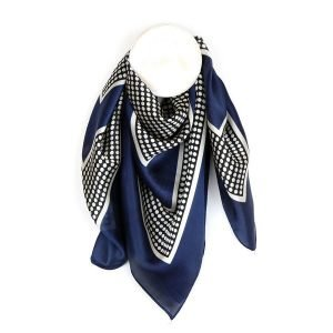 Blue silky scarf with polka dots. Square scarf