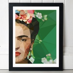 A print with a geometric image of Frida Kahlo with only half of her face showing. The background of the print is emerald green and she has flowers around her and in her hair.