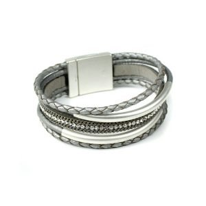 Multistrand bracelet with a magnetic fastening in metallic grey leather and silver