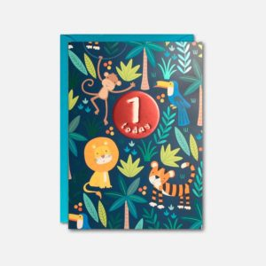 A colourful rectangular card with a jungle theme and an embossed shimmered circle in the middle of the card with 1 today written on it.