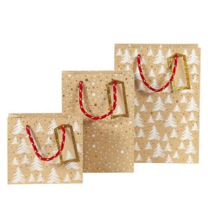 natural christmas gift bags printed in white with trees and stars with gold foil details and a red rope handle and a tag
