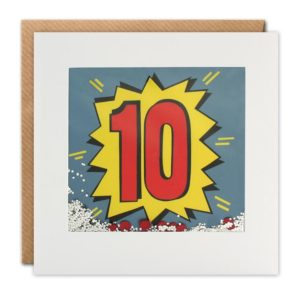 A square card with a white border which holds a cellophane packet with glitter and confetti inside of it. Behind the packet is a colourful number 10 in a graffiti style. When you shake the card the confetti and glitter moves around.