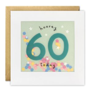 A white square card with a translucent material inset in the card. Behind the translucent material the words Hooray 60 Today are printed and there is confetti inside the packet that is formed.