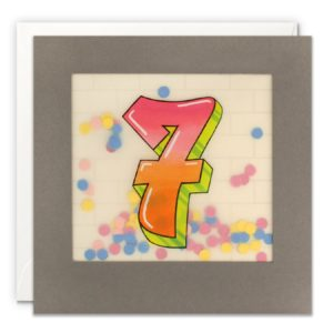 A grey square card with a graffiti style number 7 printed on translucent material with coloured confetti behind it.