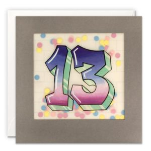 A grey square card which has a border edge to it. The border is inlaid with translucent paper which has the number 13 printed in a graffiti style.There are small colourful confetti dots behind the translucent paper, so that when you shake the card you can see the confetti moving behind.