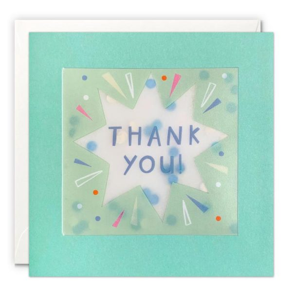 A square card with a blue border which holds in place a translucent packet which holds dot shaped confetti inside of it. A blue star is printed on the translucent material along with the words Thank You.