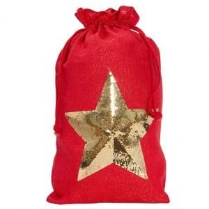 personalised Christmas sack in red jute with gold sequin star