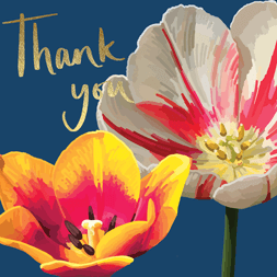 Beautiful thank you card featuring bright colourful watercolour illustrations of flowers and thank you in gold foil